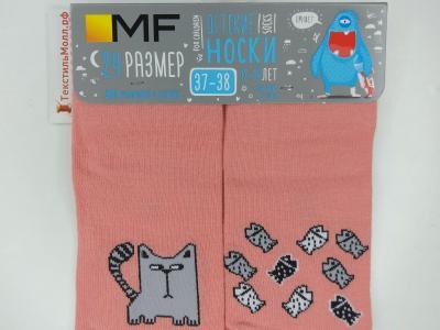 Детские носки с рисунком в виде кота и рыбок
