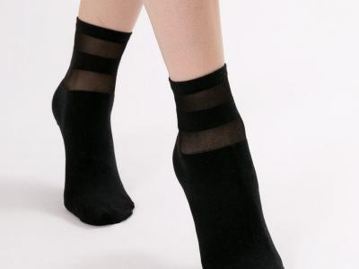 носки средней высоты с полупрозрачным паголенком