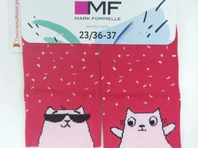 Укороченные носки с рисунком в виде дерзких котов