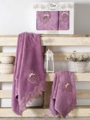 Комплект подарочных полотенец Sikel бамбук с гипюром