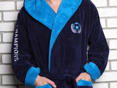 CHAMPION (синий) спортивный мужской халат из бамбука